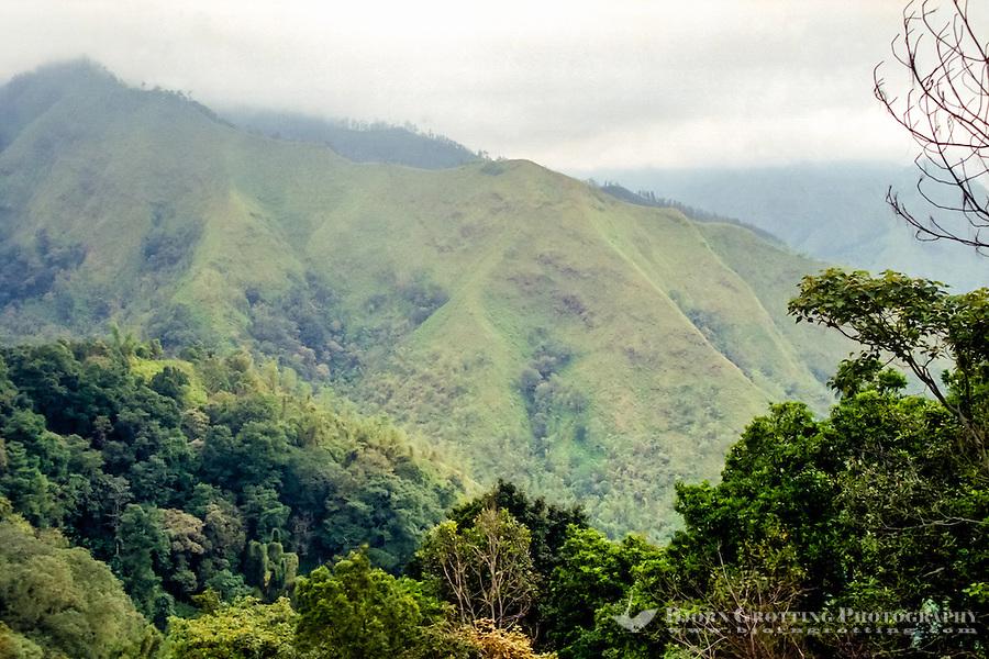 Java, East Java, Batu. View from the road from Batu to Kediri. West of Batu.