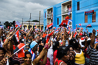 Cubans carry the national flags and supporting the regime of Fidel Castro and his brother Raul Castro during the annual celebration of the Cuban Revolution anniversary in Santiago de Cuba, Cuba, 26 July 2008. The Cuban revolution began when the poorly armed Cuban rebels, led by Fidel Castro, attacked the Moncada Barracks in Santiago de Cuba on 26 July 1953. The attack was easily defeated and most of the rebels were captured and later executed by the Batista regime. Although Fidel Castro had been sentenced to 15 years of prison, after less than two years he was released, he went to Mexico and in 1956, back in Cuba again, his guerilla group started a new rebellion.