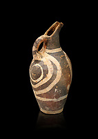 Minoan decorated Kamares  style jug with swirl pattern, Poros cemetery 1800-1650 BC; Heraklion Archaeological  Museum, black background.