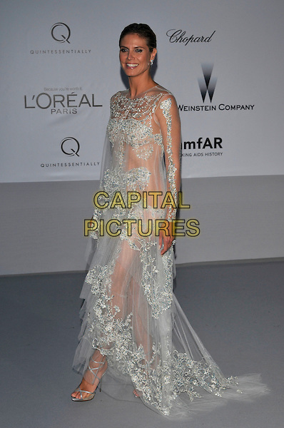 Heidi Klum.AmFAR Cinema Against AIDS 2012, Hotel du Cap, Antibes during the 65th  Cannes Film Festival, France..24th May 2012.full length sheer see through thru dress white blue lace side .CAP/PL.©Phil Loftus/Capital Pictures.