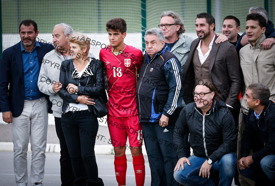 Fudbal Soccer<br /> International Friendly-Prijateljski mec<br /> Srbija U17 v Belorusiaj U17<br /> Stefan Stankovic (C) with the family and friends Dejan Stankovic Marko Pantelic Ivica Dragutinovic<br /> Stara Pazova, 20.09.2016<br /> foto: Srdjan Stevanovic/Starsportphoto &copy;