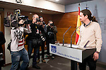 Secretary General of Podemos, offer a press conference for the media at the end of his meeting with the Secretarty General of the Partido Popular, Mariano Rajoy at Moncloa Palace in Madrid, December 28 2015. <br /> (ALTERPHOTOS/BorjaB.Hojas)