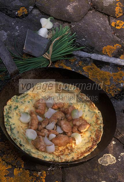 """Europe/France/Midi-Pyrénées/12/Aveyron/Rodez : Pascade au lard et aux herbes, ris d'agneau sauté et crème de lard grillé - Recette de Nicole Fagegaltier du """"Vieux Pont"""""""