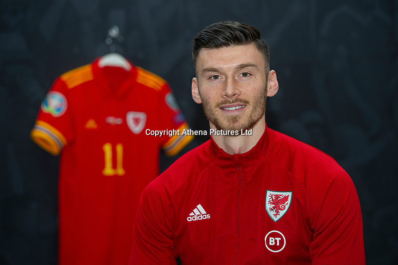 Kiefer Moore of Wales pose for a photo infront of the ' The art of the Wales shirt ' Exhibition at St Fagans National Museum of History in Cardiff, Wales, UK. Tuesday 12th November 2019