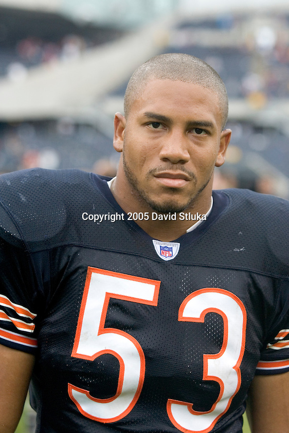 Linebacker Leon Joe #53 of the Chicago Bears walks off the field after the game against the Cincinnati Bengals at Soldier Field on September 25, 2005 in Chicago, Illinois. The Bengals defeated the Bears 24-7. (Photo by David Stluka)