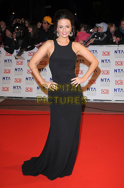 JENNIFER METCALFE.Arrivals at the 15th National Television Awards held at the O2 Arena, London, England. .January 20th, 2010 .NTA NTAs full length black maxi sleeveless dress hands on hips .CAP/BEL.©Tom Belcher/Capital Pictures