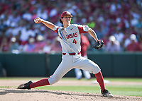 NWA Democrat-Gazette/CHARLIE KAIJO Arkansas pitcher Bryce Bonnin (4) throws a pitch during the second game of the NCAA super regional baseball, Sunday, June 10, 2018 at Baum Stadium in Fayetteville. Arkansas fell to South Carolina 5-8.