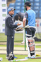 Picture by Alex Whitehead/SWpix.com - 27/05/2015 - Cricket - 2nd Investec Test: England v New Zealand - Headingley Cricket Ground, Leeds, England - New Zealand head coach Mike Hesson (L) during a practice session.
