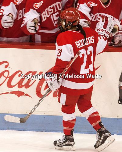 Nina Rodgers (BU - 23) - The Harvard University Crimson tied the Boston University Terriers 6-6 on Monday, February 7, 2017, in the Beanpot consolation game at Matthews Arena in Boston, Massachusetts.