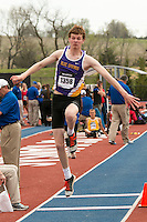 Blue Springs senior Jacob Priester hopped, skipped, and jumped his way to victory in the boys triple jump with a personal record jump of 48-5.5 at the 2015 Kansas Relays.