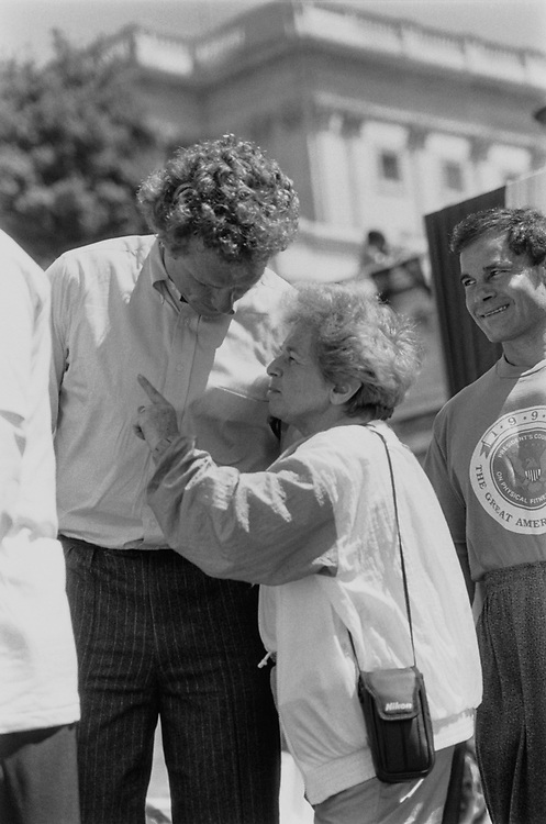During the Great American workout, Dr. Ruth offers a little advice to Rep. Joseph P. Kennedy II, D-Mass. in M1991. (Photo by Maureen Keating/CQ Roll Call)