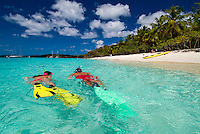 Snorkelers at Honeymoon Beach<br />