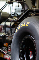Jul 22, 2018; Morrison, CO, USA; Detailed view of the rear Goodyear tire on the dragster of NHRA top fuel driver Steve Torrence during the Mile High Nationals at Bandimere Speedway. Mandatory Credit: Mark J. Rebilas-USA TODAY Sports