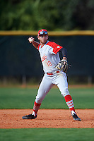 Ball State Cardinals third baseman Sean Kennedy (10) throws to first base during a game against the Villanova Wildcats on March 3, 2017 at North Charlotte Regional Park in Port Charlotte, Florida.  Ball State defeated Villanova 3-1.  (Mike Janes/Four Seam Images)