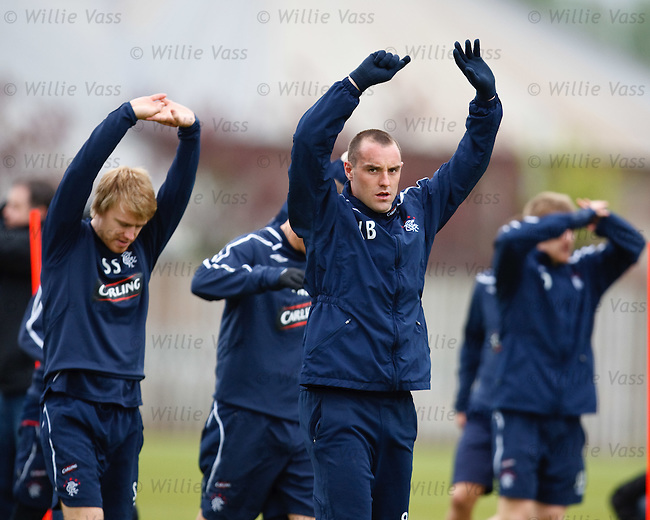 Kris Boyd stretching at training