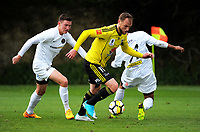 Hamish Watson in action during the A-league and ISPS Handa Premiership football preseason match between Wellington Phoenix and Team Wellington at Martin Luckie Park in Wellington, New Zealand on Saturday, 30 September 2017. Photo: Dave Lintott / lintottphoto.co.nz