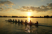 REDWOOD SHORES, CA - DATE UNKNOWN:  The women's crew team during practice during the 2003-2004 season in Redwood Shores, California.