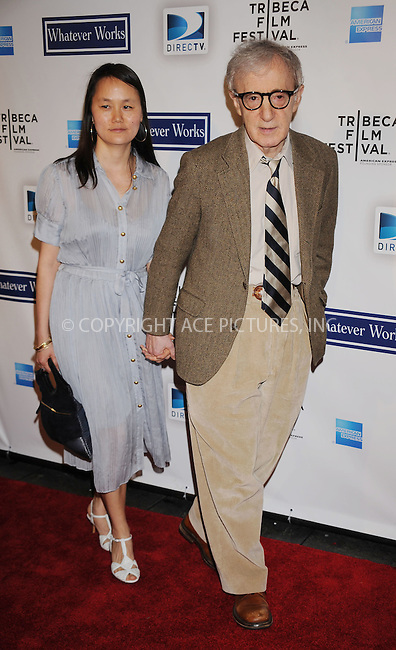 WWW.ACEPIXS.COM . . . . . ....April 22 2009, New York City....Director Woody Allen (R) and Soon-Yi Previn arriving at the premiere of 'Whatever Works' during the 2009 Tribeca Film Festival at Ziegfeld on April 22, 2009 in New York City.....Please byline: KRISTIN CALLAHAN - ACEPIXS.COM.. . . . . . ..Ace Pictures, Inc:  ..tel: (212) 243 8787 or (646) 769 0430..e-mail: info@acepixs.com..web: http://www.acepixs.com