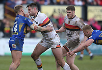 Bradford Bulls's James Green is tackled by Leeds Rhinos' Brad Dwyer <br /> <br /> Photographer Stephen White/CameraSport<br /> <br /> Rugby League - Coral Challenge Cup Sixth Round - Bradford Bulls v Leeds Rhinos - Saturday 11th May 2019 - Provident Stadium - Bradford<br /> <br /> World Copyright &copy; 2019 CameraSport. All rights reserved. 43 Linden Ave. Countesthorpe. Leicester. England. LE8 5PG - Tel: +44 (0 116 277 4147 - admin@camerasport.com - www.camerasport.com