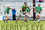 James Godley Kilmoyley in action against Mikey Boyle Ballyduff in the County Senior Hurling Final at Austin Stack Park on Sunday.
