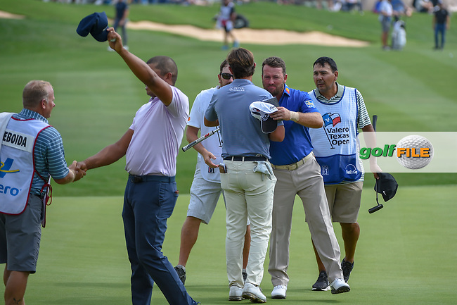 Graeme McDowell (NIR) shakes hands on 18 following day 3 of the Valero Texas Open, at the TPC San Antonio Oaks Course, San Antonio, Texas, USA. 4/6/2019.<br /> Picture: Golffile | Ken Murray<br /> <br /> <br /> All photo usage must carry mandatory copyright credit (© Golffile | Ken Murray)