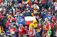 Landover, MD - November 18, 2018: Houston Texans fans during the  game between Houston Texans and Washington Redskins at FedEx Field in Landover, MD.   (Photo by Elliott Brown/Media Images International)
