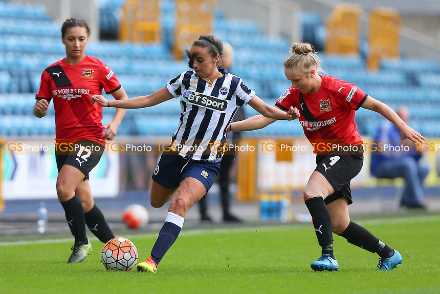 Leigh Nicol of Millwall and Sherry McCue of Sheffield during Millwall Lionesses vs Sheffield FC Ladies, FA Women's Super League FA WSL2 Football at The Den on 9th October 2016