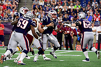 August 9, 2018: New England Patriots quarterback Brian Hoyer (2) reacts as the pocket collapses around him during the NFL pre-season football game between the Washington Redskins and the New England Patriots at Gillette Stadium, in Foxborough, Massachusetts. Eric Canha/CSM