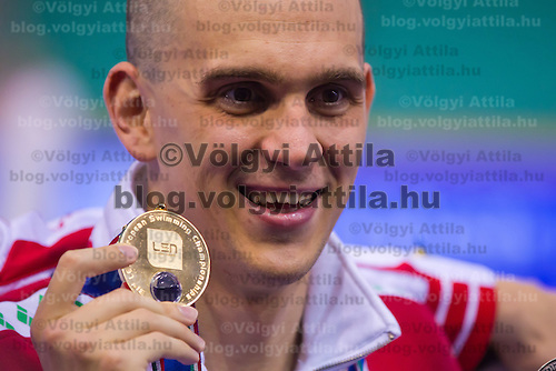 Laszo Cseh of Hungary celebrates his victory in the Men's 200m Individual Medley final of the 31th European Swimming Championships in Debrecen, Hungary on May 23, 2012. ATTILA VOLGYI