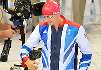 July 28, 2012: DAVID CARRY of Great Britain arrives at the starting block to compete in men's 400m Freestyle final at the Aquatics Center on day one of 2012 Olympic Games in London, United Kingdom.
