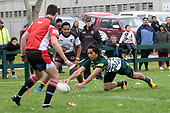 Assistant Referee Livigisitone Moli and Referee Brandon Roberts watch as Willie Tuala dives over in the corner to score for Manurewa. Counties Manukau Club Rugby game between Manurewa and Bombay played at Mountfort Park Manurewa on Saturday June 2nd 2018. Bombay won the game 27 - 20 after leading 20 - 5 at halftime. <br /> Manurewa Kidd Contracting 20 - Caleb Fa'alili, William Raea, Willie Tuala, Viliami Taulani tries.<br /> Bombay 27 - Liam Daniela, Sepuloni Taufa, Talaga Alofipo tries, Ki Anufe 3 conversions, Ki Anufe 2 penalties.<br /> Photo by Richard Spranger.
