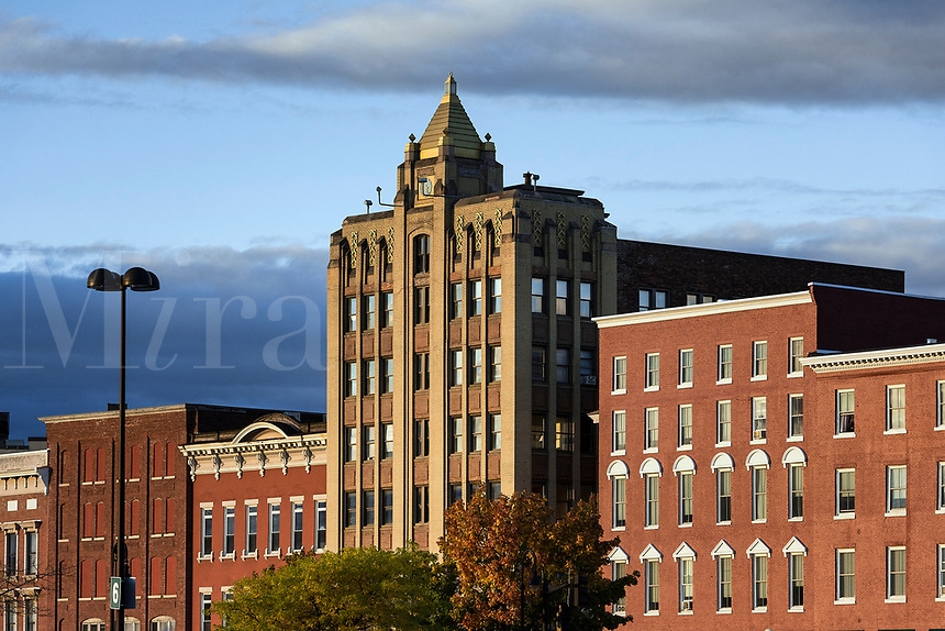 Buildings in downtown Rutland, Vermont, USA.