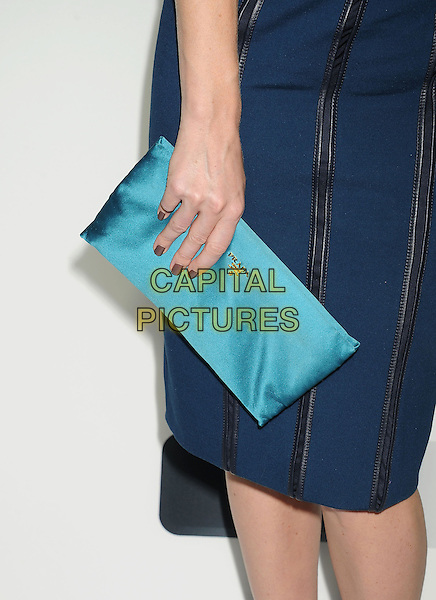 Alice Eve's bag<br /> &quot;Star Trek Into Darkness&quot; DVD/Blu-Ray Release held at the California Science Center, Los Angeles, California, USA.<br /> September 10th, 2013<br /> turquoise clutch bag prada brown greige nail varnish polish blue detail<br /> CAP/ROT/TM<br /> &copy;Tony Michaels/Roth Stock/Capital Pictures