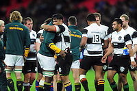 Players embrace after the match. Killik Cup International match, between the Barbarians and South Africa on November 5, 2016 at Wembley Stadium in London, England. Photo by: Patrick Khachfe / JMP