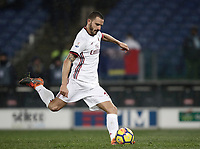 Football Soccer: Tim Cup semi-final second Leg, SS Lazio vs AC Milan, Stadio Olimpico, Rome, Italy, February 28, 2018.<br /> Milan's captain Leonardo Bonucci kicks a penalty during the shootout of the Tim Cup semi-final football match between SS Lazio vs AC Milan, at Rome's Olympic stadium, February 28, 2018.<br /> <br /> UPDATE IMAGES PRESS/Isabella Bonotto