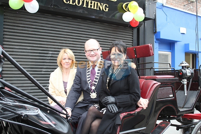 Betty McDonnell, The Cut Above, Deputy Mayor Ged Nash and Mai Tham at the Official Launch of the North Quay Retail Event...Picture Jenny Matthews/Newsfile.ie
