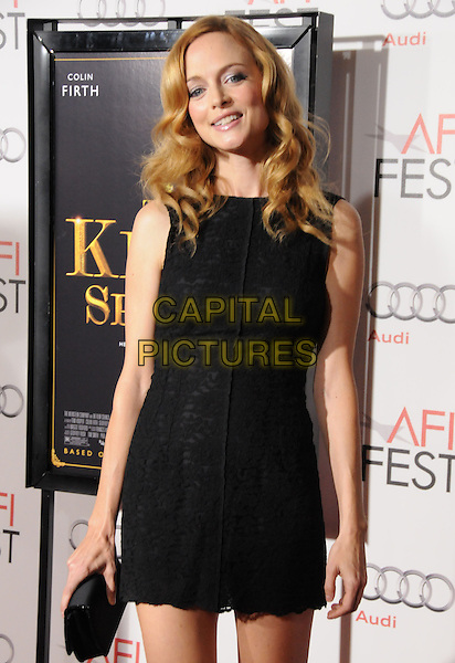"HEATHER GRAHAM .Attends the AFI Fest 2010 Screening of ""The King's Speech"" held at The Grauman's Chinese Theatre in Hollywood, California, USA,.November 5th 2010..half length dress clutch bag black  sleeveless                                           .CAP/RKE/DVS.©DVS/RockinExposures/Capital Pictures."