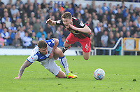 Blackburn Rovers' Richard Smallwood is fouled by Bristol Rovers' Tom Broadbent in the area <br /> <br /> Photographer Ashley Crowden/CameraSport<br /> <br /> The EFL Sky Bet League One - Bristol Rovers v Blackburn Rovers - Saturday 14th April 2018 - Memorial Stadium - Bristol<br /> <br /> World Copyright &copy; 2018 CameraSport. All rights reserved. 43 Linden Ave. Countesthorpe. Leicester. England. LE8 5PG - Tel: +44 (0) 116 277 4147 - admin@camerasport.com - www.camerasport.com