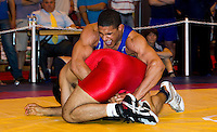 22 MAY 2010 - BIRMINGHAM, GBR - Leon Rattigan (blue) - 2010 English Senior Wrestling Championships .(PHOTO (C) NIGEL FARROW)