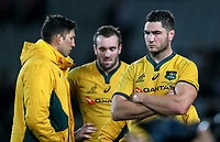 Dejected Wallabies after the Bledisloe Cup rugby match between the New Zealand All Blacks and Australia Wallabies at Eden Park in Auckland, New Zealand on Saturday, 17 August 2019. Photo: Simon Watts / lintottphoto.co.nz