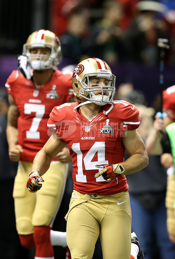 Feb 3, 2013; New Orleans, LA, USA; San Francisco 49ers wide receiver Chad Hall (14) against the Baltimore Ravens in Super Bowl XLVII at the Mercedes-Benz Superdome. Mandatory Credit: Mark J. Rebilas-