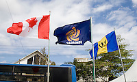 Flags of the participating countries fly over the field during the group stage of the CONCACAF Men's Under 17 Championship at Jarrett Park in Montego Bay, Jamaica. Canada defeated Barbados, 8-0.