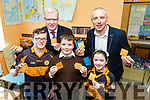 Gaelscoil Mhic Easmainn 5th class students have launched their JEP Junior Entrepreneur project 'Mi Magnets' fridge magnets with your local sports club logo on them. Austin Stacks having put in a order to commemorate their 100th anniversary. Pictured Austin Stacks and kerry star Kieran Donaghy and Liam Lynch with 5th class students Lucas Mac Gearailt, Daithi o Loingsigh and Doireann de Mordha