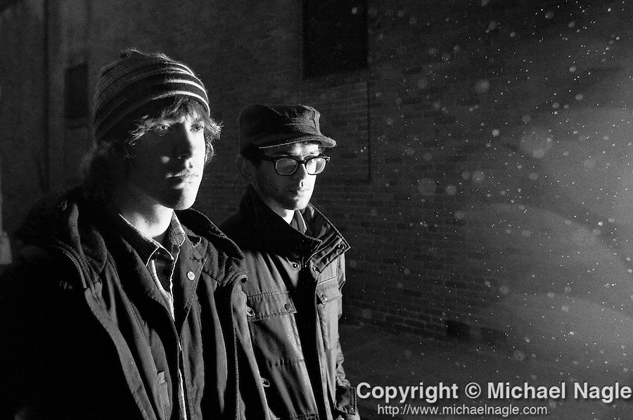 BROOKLYN - FEBRUARY 23, 2010:  Andrew VanWyngarden (L) and Ben Goldwasser (R) of the band MGMT pose for a portrait on February 23, 2010 in Brooklyn.  (Photo by Michael Nagle)