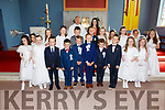Pupils from St Finian's NS Waterville who made their First Holy Communion in St Finians Church on Saturday pictured here front l-r; Edel Moran, Orlaith Cronin, Alex O'Toole, Kieran O'Dwyer, Cathal O'Sullivan, Finbarr McCarthy, Patrick O'Sullivan, Gavin Griffin, Beta Farrell, Bella Farrell, back l-r; Katy Galvin, Eve Draper, Evie Final, Ryan Courtney, Kuba Gris, Maria Murphy, Amy O'Dwyer, Tara Fitzgerald, Lauren O'Toole, Clíona Walsh with Fr. Finucane & Niamh McCarthy(Teacher).