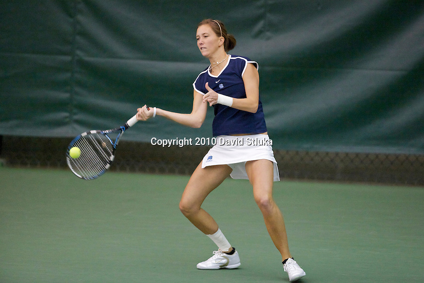 MADISON, WI - February 15: A North Carolina player hits the ball during Indoor Women's Tennis Championships match at the Nielsen Tennis Stadium in Madison, Wisconsin on February 15, 2010. Northwestern beat North Carolina. (Photo by David Stluka)