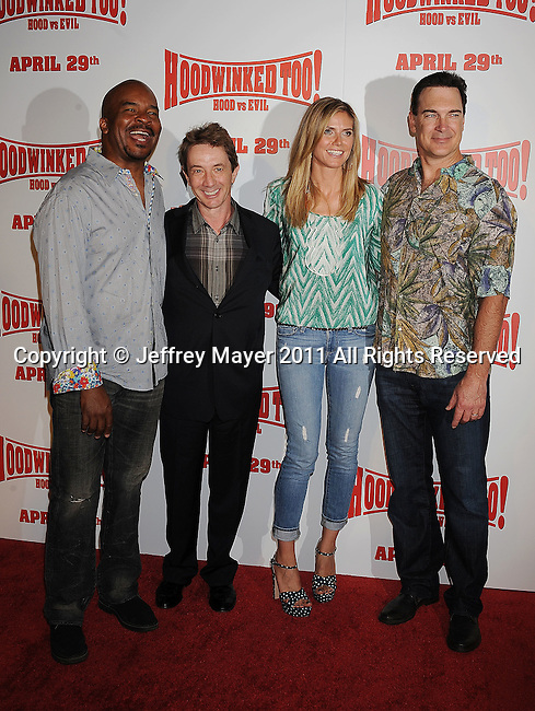 "LOS ANGELES, CA - APRIL 16: David Alan Grier, Martin Short, Heidi Klum and Patrick Warburton  arrive at ""Hoodwinked Too! Hood Vs Evil"" Los Angeles premiere at Pacific Theatres at The Grove on April 16, 2011 in Los Angeles, California."