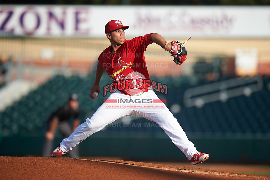 Palm Beach Cardinals starting pitcher Derian Gonzalez (37) during a game against the Jupiter Hammerheads  on August 12, 2016 at Roger Dean Stadium in Jupiter, Florida.  Jupiter defeated Palm Beach 9-0.  (Mike Janes/Four Seam Images)