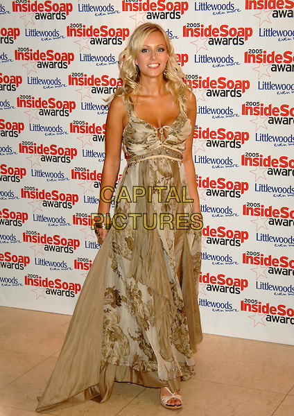 GUEST.Inside Soap Awards 2005 at Floridita London, WI, London..September 26th, 2005.full length Bad Girls beige dress floral print.www.capitalpictures.com.sales@capitalpictures.com.©Capital Pictures