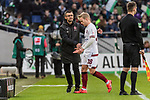 09.02.2019, HDI Arena, Hannover, GER, 1.FBL, Hannover 96 vs 1. FC Nuernberg<br /> <br /> DFL REGULATIONS PROHIBIT ANY USE OF PHOTOGRAPHS AS IMAGE SEQUENCES AND/OR QUASI-VIDEO.<br /> <br /> im Bild / picture shows<br /> Simon Rhein (Nuernberg #38) verl&auml;sst den Platz nach Rote Karte / Platzverweis, Michael K&ouml;llner / Koellner (Trainer 1. FC Nuernberg) tr&ouml;stet Rhein, <br /> <br /> Foto &copy; nordphoto / Ewert